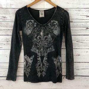 Vocal Embellished Long Sleeve Shirt Size Small